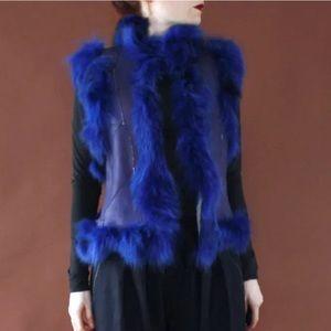 Jackets & Blazers - Vtg blue leather shearling patchwork fur vest